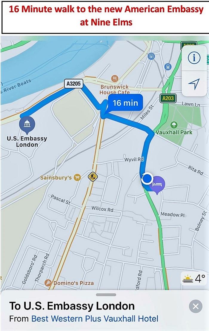 Location Vauxhall London Best Western Plus Vauxhall Hotel - Us-embassy-london-map